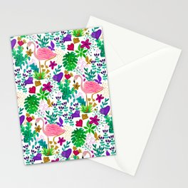 Pink tropical flamingos Stationery Cards