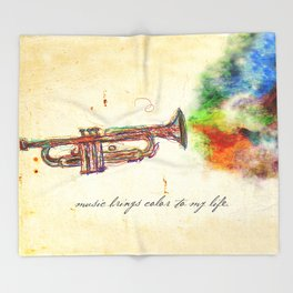 Music Brings Color to My Life Throw Blanket