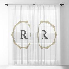 Vintage Letter R Monogram Sheer Curtain
