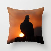 pigeon Throw Pillows featuring pigeon by laika in cosmos