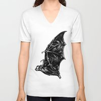 leather V-neck T-shirts featuring Leather Wings by Rad Recorder