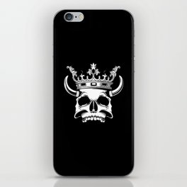 horned and crowned skull illustration iPhone Skin
