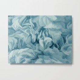 Soft Baby Blue Petal Ruffles Abstract Metal Print