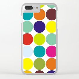 Rainbow colorful large polka dots Clear iPhone Case