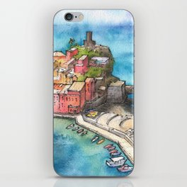 Cinque Terre ink & watercolor illustration iPhone Skin