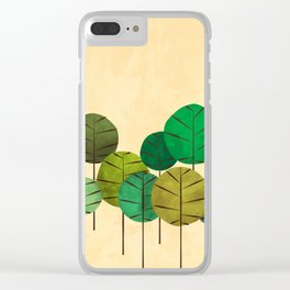 GREEN AUTUMN TREES Clear iPhone Case