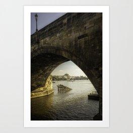 The National Theatre viewed through Charles Bridge Art Print