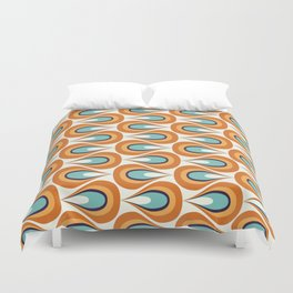 Retro Mid Century Modern Geometric Flame in Orange and Turquoise Duvet Cover