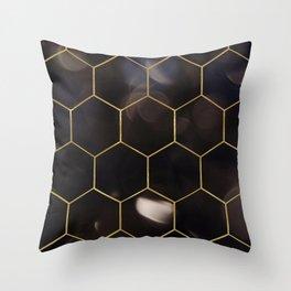 Dark bokeh gold hexagons Throw Pillow