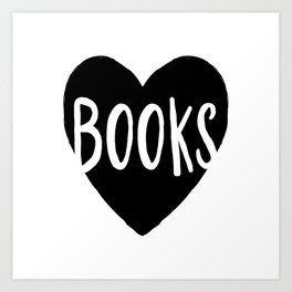 Heart Books - Hand lettered Book worm design  Art Print