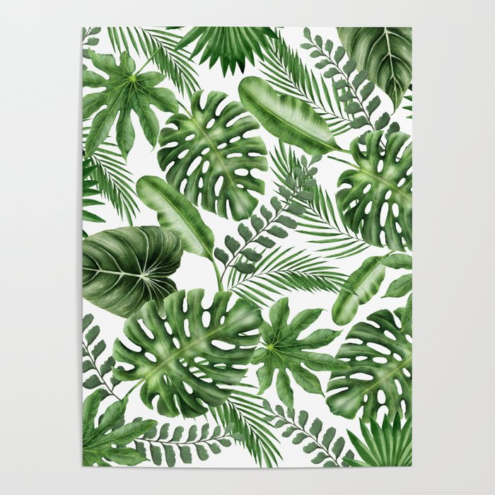 Tropical Leaves Pattern Monstera And Banana Leaves Poster By Lostuniverse Society6 Monstera deliciosa leaf seamless exotic tropical monstera palm leaves, copy space. tropical leaves pattern monstera and banana leaves poster by lostuniverse
