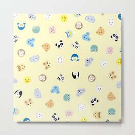 Cute Chibi animals pattern Metal Print