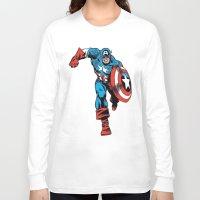 avenger Long Sleeve T-shirts featuring Avenger: Cap' by Popp Art
