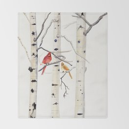 Birch Trees and Cardinal Throw Blanket