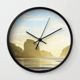 Golden Hour at the Beach Wall Clock