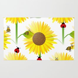 Sunflowers And Bees Rug