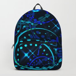 Blue twinkling New Year decorations and stars. Backpack
