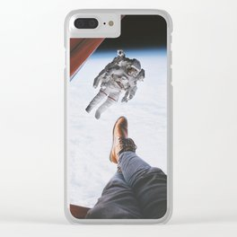 Camping in space Clear iPhone Case