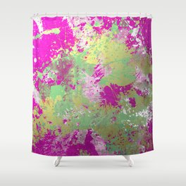 Metallic Pink Splatter Painting - Abstract pink, blue and gold metallic painting Shower Curtain