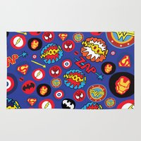 super hero Area & Throw Rugs featuring Movie Super Hero logos by Nick's Emporium Gallery