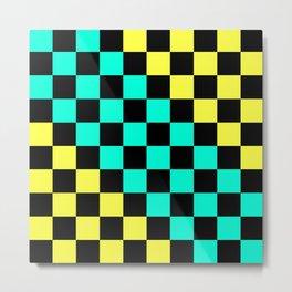 Black, Aqua, & Yellow Checkerboard Pattern Metal Print