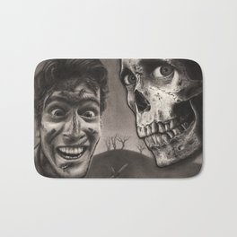 Ash with Skull and Cross - Evil Dead 2 Charcoal and Graphite Drawing Art Bath Mat