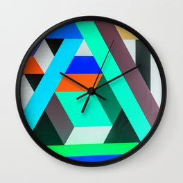 Teal Geometric Artwork - Abstract Pattern Wall Clock