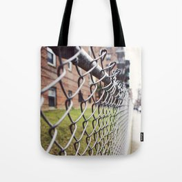 The Fences on a Rainy Day in New York City Tote Bag