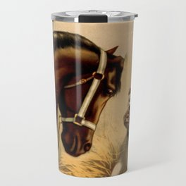 Vintage English Bulldog & Horse Illustration (1899) Travel Mug