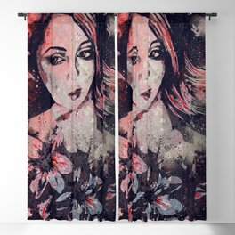 Ruined Our Everything: Red (graffiti flower lady portrait) Blackout Curtain