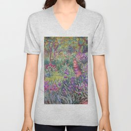 The Artist's Garden in Giverny by Claude Monet Unisex V-Neck