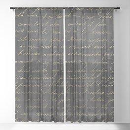 Vintage Black & Gold Script  Sheer Curtain