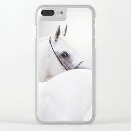 white arabian horse Clear iPhone Case