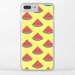 Cute Watermelon Pattern (Yellow) Clear iPhone Case