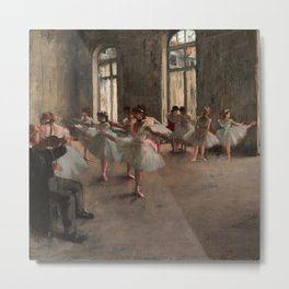 Classical Masterpiece 'The Ballet Rehearsal' by Edgar Degas Metal Print