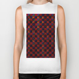 Abstract color checkered swirl with halftones Biker Tank