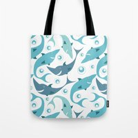 sharks Tote Bags featuring Sharks by Julia Badeeva
