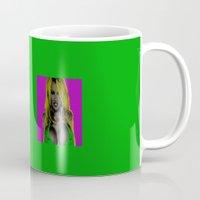 wes anderson Mugs featuring Pamela Anderson by Dora Birgis