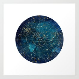 Star Map :: City Lights Art Print
