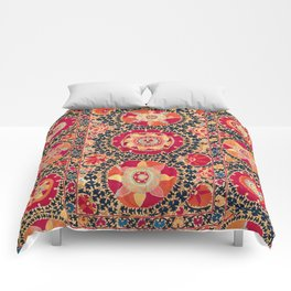 Kermina Suzani Uzbekistan Floral Embroidery Print Comforters