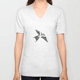 Patterned Swallow Unisex V-Neck