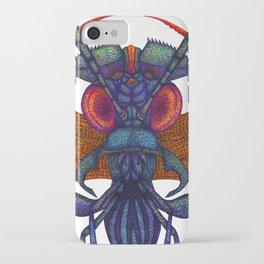 A fibre (felt-tip) pens illustration (pointillism) of an insect alien. iPhone Case