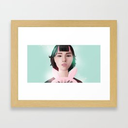 South Korean Girl With Hair Rollers and Bunny Ear Fan Portrait for K-Pop Lovers Framed Art Print