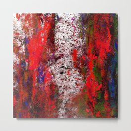 Red Splash Abstract Metal Print