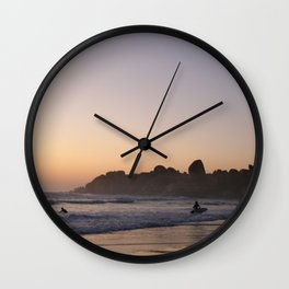 Surfers at Sunset Wall Clock
