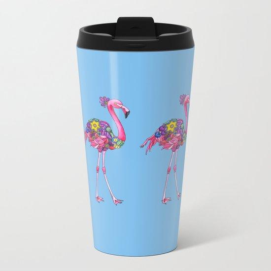 Fancy Felicity Flamingo (Blue) Metal Travel Mug