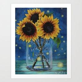 Lightning Bugs and Sunflowers Art Print