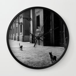 Two French Cats, Paris Left Bank black and white cityscape photograph / photography Wall Clock