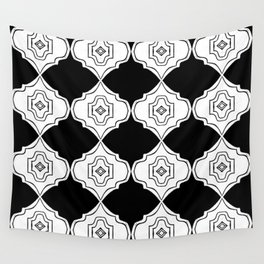 Linocut scandinavian pattern black and white minimal ogee minimal Wall Tapestry