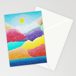 The Creation Of The Mountains by God in Jewel Tones landscape painting by Ariel Chavarro Avila Stationery Cards